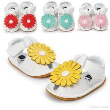 2017 summer girls soft leather sandals sunflower design baby