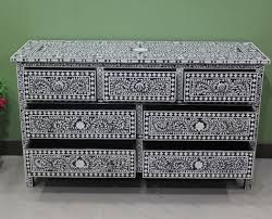 White Bedroom Chest Of Drawers By Loft Black Bone Inlay 7 Drawer Large Chest Of Drawer 7 Drawer Bone