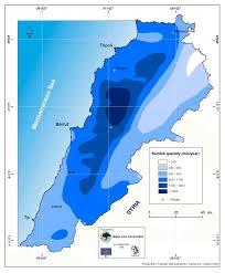 Map Of Lebanon Pluviometric Map Of Lebanon Plassard 1971 Figure 6 Of 40