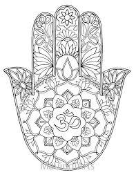 hand drawn coloring print hamsa om mauindiarts