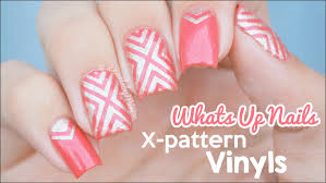 x pattern vinyl design using nail vinyls from whats up nails