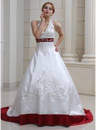 wedding dresses with color gown halter court satin wedding dress with embroidered