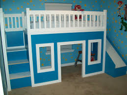 bedroom pretty bunk beds with stairs in triple tier and colorful