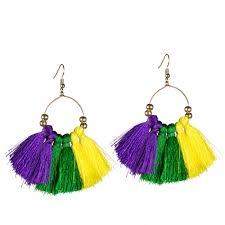 mardi gras earrings hoop pgg tassel earrings 8 150 mardigrasoutlet