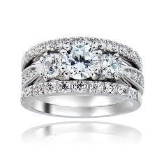 overstock wedding ring sets icz stonez rhodiumplated cubic zirconia 4ct tgw bridal ring set