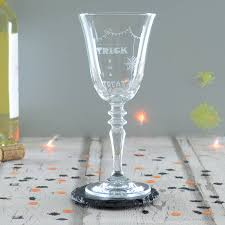 halloween barware spider trick or treat halloween wine glass by chalk and cheese