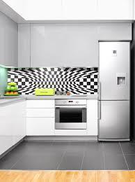 modern kitchen splashback black white optical 1 modern acrylic kitchen splashback wow