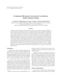evaluation of economic losses due to coccidiosis in poultry