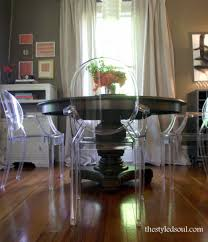 ghost chairs with pedestal table interior designs