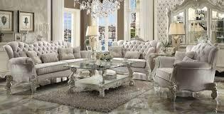 acme versailles sofa set upholstered ivory velvet u2022 usa furniture