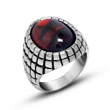 real stone rings images Buy punk real stainless steel ruby rings for men big red black jpg