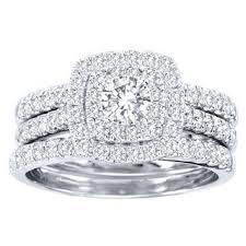 overstock wedding ring sets de couer 10k white gold 1 1 2ct tdw diamond halo bridal