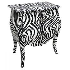 Zebra Side Table Zebra Print Bombe Bedside Chest Free Delivery Coco54