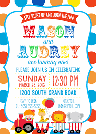 first birthday circus twin circus birthday party invitation boy twins polka dot