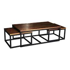 Living Room Tables Wood Stunning Nesting Coffee Table With Solid Brown Wood Materials