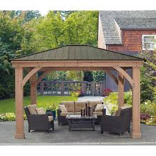 Patio Gazebo 12 X 14 Cedar Gazebo With Aluminum Roof