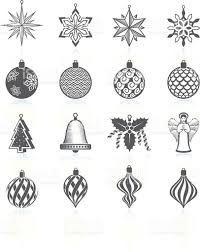 christmas decorations ornaments black and white royaltyfree vector
