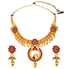 indian necklace set images Buy spargz gold plated kemp stone multicolor parrot design bridal jpg
