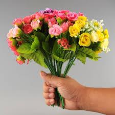 decorative floral arrangements home 2017 new beautiful 21 heads artificial mini rose bud silk flower