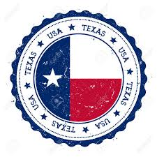 Blue Flag Stars In Circle Texas Flag Badge Grunge Rubber Stamp With Texas Flag Vintage