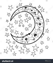 counting sheep moon stars blank coloring stock vector 547920718