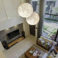 Pendant Lights For Living Room 3d Print Three Dimensional Moon Chandelier Light Modern Simple Led