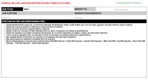 Subway Job Description For Resume by Miller Job Description
