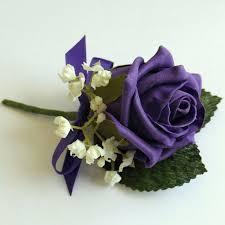 wedding flowers buttonholes artificial buttonholes purple gypsophila buttonhole