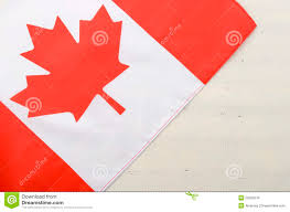 canadian red maple leaf flag on white wood background stock photo