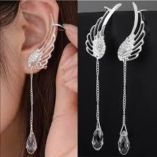 dangle clip on earrings silver plated angel wing stylist earrings drop dangle ear