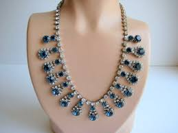 necklace rhinestone images Stunning rhinestone necklace crystal and sapphire blue vintage JPG