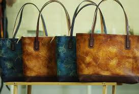 Handmade Leather Tote Bag - handmade leather tote bag vintage leaves blue shoulder bag