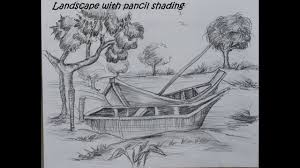 how to draw landscape with pencil shading youtube