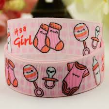 it s a girl ribbon 7 8 22mm it s a girl character printed grosgrain ribbon