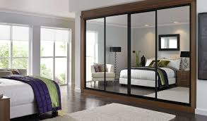 Glass Mirrored Bedroom Furniture Bedroom Built In Bespoke Fitted Wardrobe White Push Open Modern
