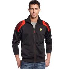 ferrari clothing puma scuderia ferrari track jacket in black for men lyst