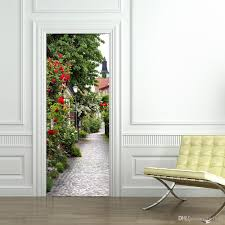 rose town landscape door mural stickers 3d stickers decorative