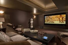 Media Game Room - teen media room with neutral home theater contemporary and soapp