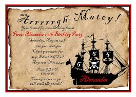 Kids Birthday Party Invitation Card Pirate Ship Birthday Party Invitations Pirate Birthday Party