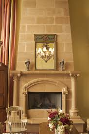 high ceiling living room white sofas fireplace stone wall revamped