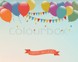 happy birthday ribbon retro background with colorful balloons and a happy birthday