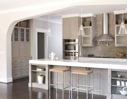 kitchen with thick corian counters and light lime washed oak
