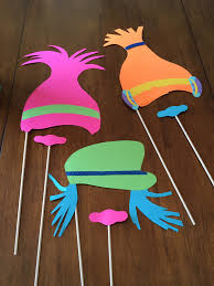 trolls party photo booth props made from michaels crafts cardstock
