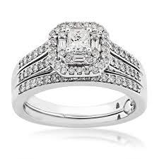 princess cut wedding set true promise princess cut diamond halo wedding set rb 3303tp
