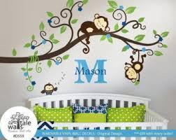 Monkey Nursery Wall Decals Monkey Wall Decal Etsy
