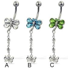 jeweled butterfly belly button ring with dangling butterfly at