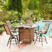 Patio High Table And Chairs Mirmar 5 Piece Metal Bar Height Fire Dining Set Target