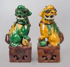 green foo dogs antiqu pair of multi colored foo dogs