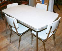 Retro Kitchen Sets by Vintage 1950s Kitchen Dinette Set Table 4 Chair Silver Gray