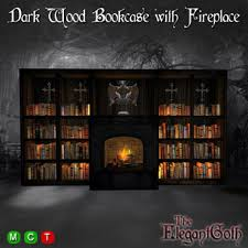 second life marketplace dark wood bookcase with fireplace